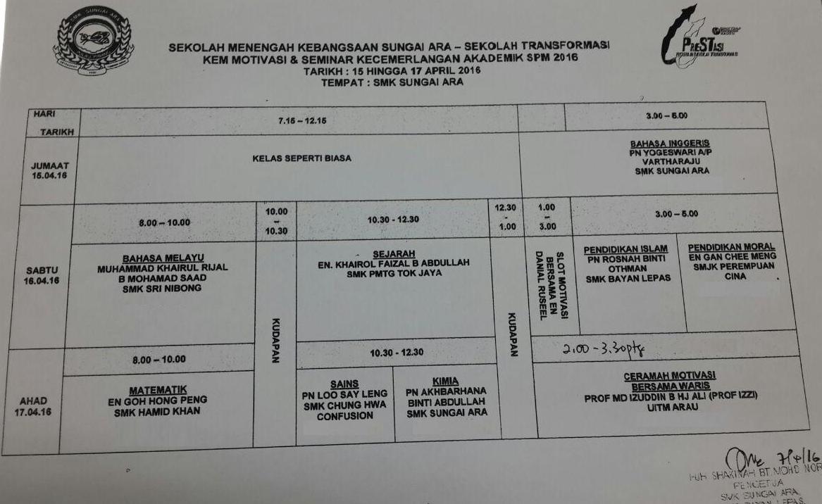 Jadual KKA SPM 2016
