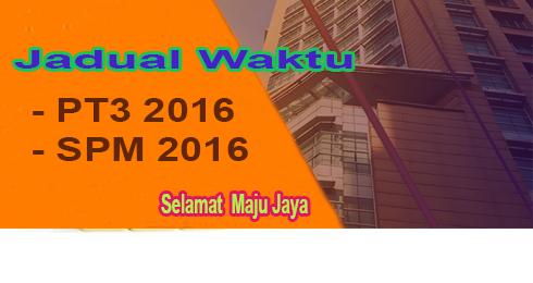 Jadual Waktu PT3 dan SPM 2016
