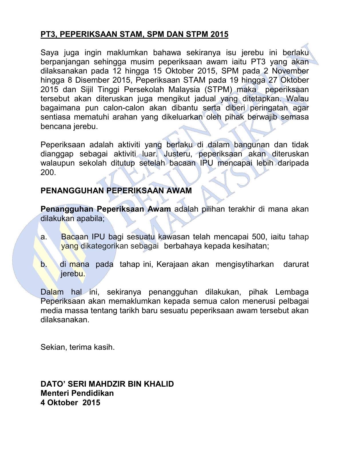 Kenyataan Media Menteri Pendidikan Malaysia_2 04102015